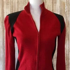 Belford Red and Black Zip Front Sweater, Size S
